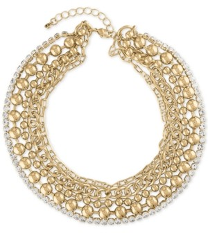 "Rachel Roy Gold-Tone Crystal Multi-Row Collar Necklace, 15"" + 2"" extender"