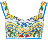 Dolce & Gabbana Printed Cotton-poplin Bra Top - Yellow