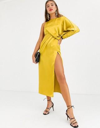 Asos Design DESIGN Copenhagen satin one sleeve midaxi dress-Gold