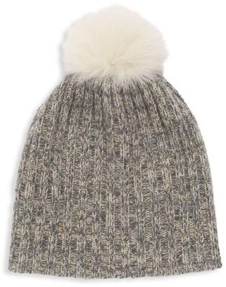 Portolano Fox Fur Pom-Pom Lurex Cashmere Beanie