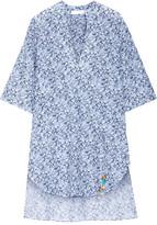 Stella McCartney Beaded Printed Cotton And Silk-blend Voile Kaftan - Light blue