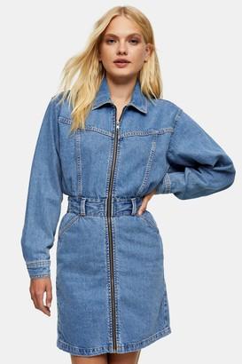 Topshop Womens Denim Long Sleeve Zip Through Shirt Dress - Mid Blue