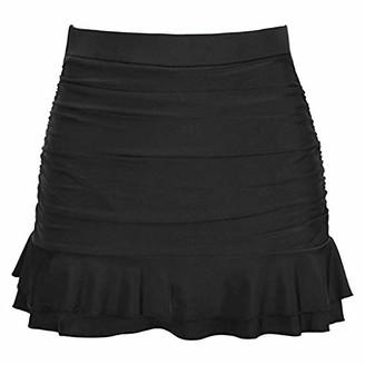 Wihoo Women Skirted Bikini Bottom High Waisted Shirred Bottom Ruffles Swimwear Black