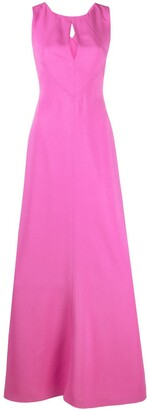 Alberta Ferretti Sleeveless Keyhole-Neck Maxi Dress