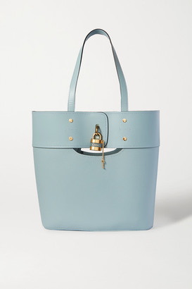 Chloé Aby Medium Smooth And Textured-leather Tote - Blue