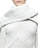 Narciso Rodriguez Cashmere Braided Scarf, White