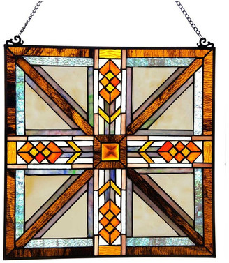 "River Of Goods 17.5"" Stained Glass Southwestern Mission Style Window Panel, Amber"