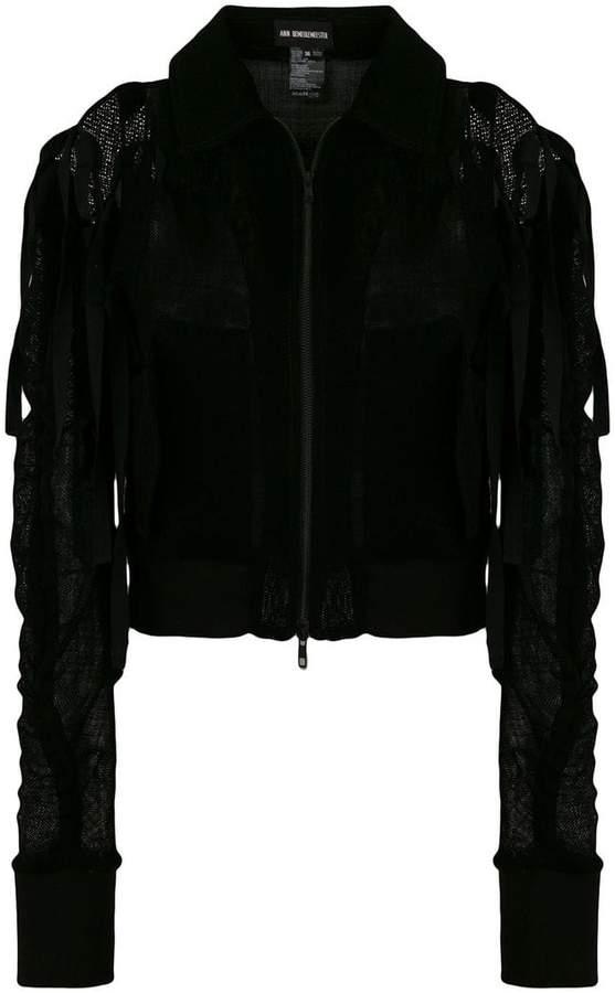 Ann Demeulemeester exposed shoulder zip jacket