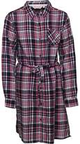 Board Angels Girls Yarn Dyed Checked Dress Navy Pink