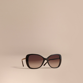 Burberry Check Detail Butterfly Frame Sunglasses