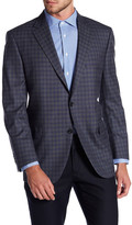 Peter Millar Grey & Navy Check Notch Collar Two Button Classic Fit Wool Sports Coat