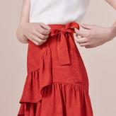 Maje Wraparound skirt with frills