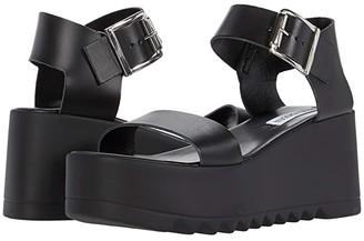 Steve Madden Lake Wedge Sandal (Black Leather) Women's Shoes