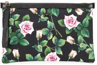 Dolce & Gabbana rose-print canvas clutch