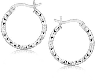 Overstock Sterling Silver Faceted Design Hoop Earrings with Rhodium Plating