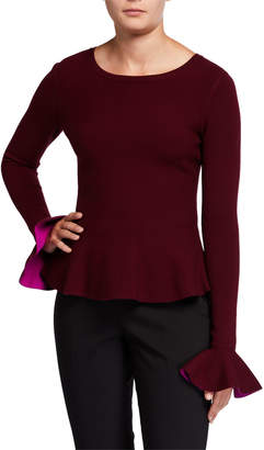 Milly Contrast Knit Long-Sleeve Flare Top