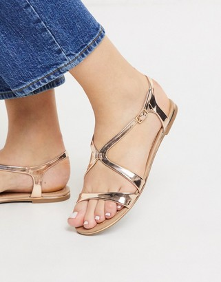 Call it SPRING agruila strappy flat sandals in rose gold