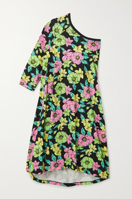 Balenciaga One-sleeve Floral-print Cotton-jersey Midi Dress - Black