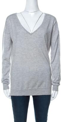 Joseph Grey Wool Knitted Long Sleeve Deep V Neck Top S