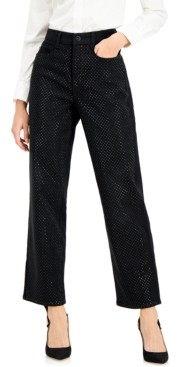 INC International Concepts Inc High-Rise Embellished Straight-Leg Jeans, Created for Macy's