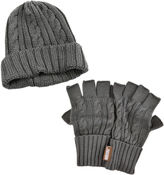 Muk Luks 2-pc. Cable Knit Beanie and Fingerless Gloves Set