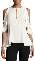Theory Desiraya Cold-Shoulder Classic Georgette Top