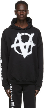 Vetements Black Anarchy Gothic Logo Hoodie