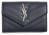 Saint Laurent Women's 'Small Monogram' Leather French Wallet - Blue