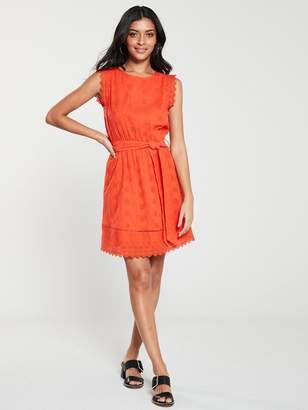 Very BroderieTie Waist Dress - Red