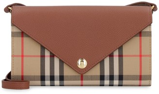 Burberry Fabric And Leather Crossbody Wallet