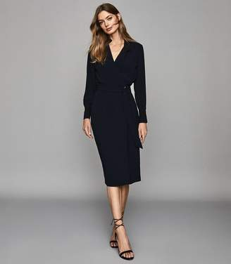 Reiss FRANCES WRAP FRONT SHIRT DRESS Navy/ Black