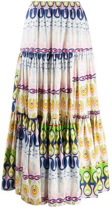 La DoubleJ Geometric Flared Maxi Skirt