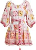 Juliet Dunn Embroidered cotton mini-dress