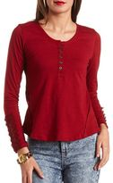 Charlotte Russe Lace-Cuffed Henley Tee