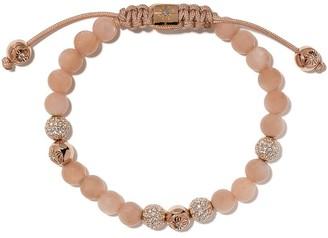 Shamballa Jewels 18kt Rose Gold, Diamond And Quartz Beaded Bracelet