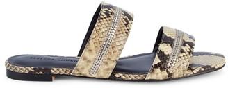 Rebecca Minkoff Marciann Too Zipper Snake-Print Sandals