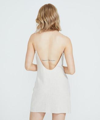 Alice In The Eve Bias Cut Linen Slip Dress Stone Marle
