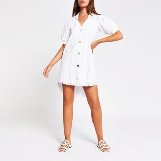 River Island White short sleeve broderie shirt mini dress
