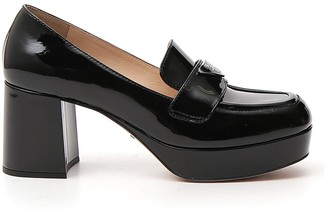 Prada Logo Block Heel Pumps