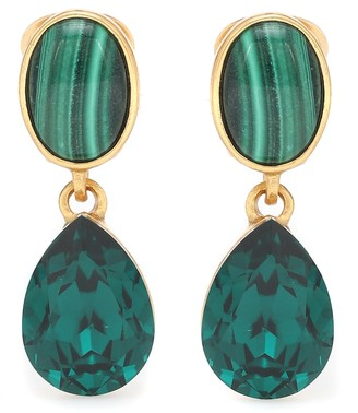 Oscar de la Renta Gold-plated clip-on earrings with malachites