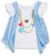 Flapdoodles ??ittle Girls Flutter-Sleeve Necklace T-shirt and Vest Set