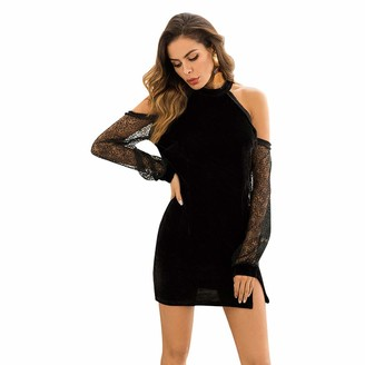 OCTOPUSIR Women's Sexy Cocktail Dress Ladies Solid Halter Velvet Tunic Dress with Embroidered Floral Mesh Bishop Sleeve for Formal Evening Cocktail Party Retro Dress Occasion Wedding Outfits Black