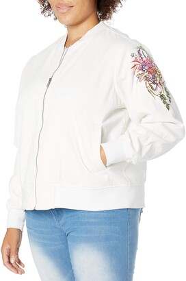 Rachel Roy Women's Plus Size Embroidered Bomber Jacket