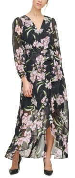 Jessica Howard Floral-Print Ruffled Midi Dress