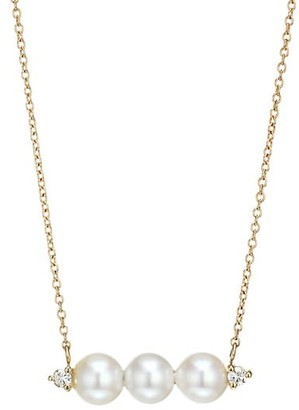 Mizuki 14K Yellow Gold, Floating 6MM Akoya Pearl & Diamond Bar Necklace
