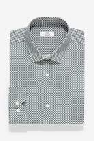 Mens Next Green Geometric Print Slim Fit Single Cuff Cotton Stretch Shirt - Green