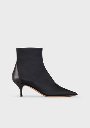 Emporio Armani Satin Ankle Boots With Leather Insert