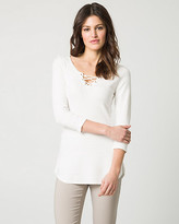 Le Château Textured Viscose Blend Lace-Up Sweater