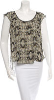 L'Agence Butterfly Print Silk Blouse