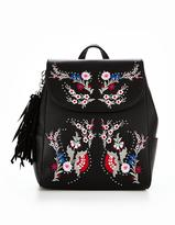 Miss Selfridge Black Embroidered Backpack